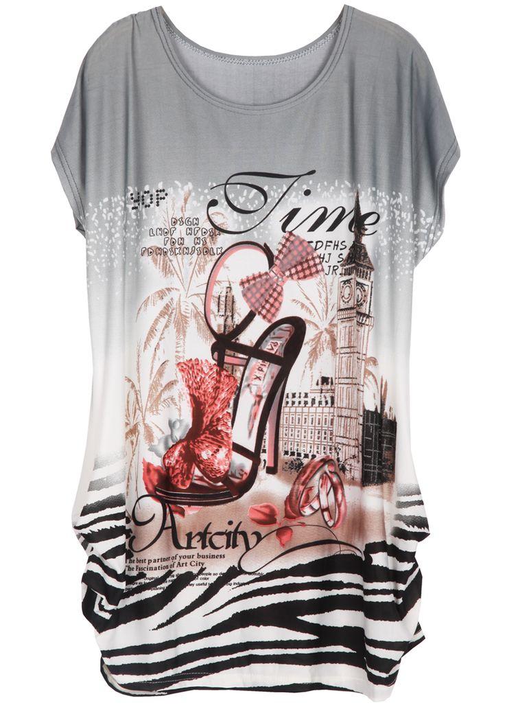 Grey Batwing Short Sleeve High-heeled Shoes Print T-Shirt - Sheinside.com