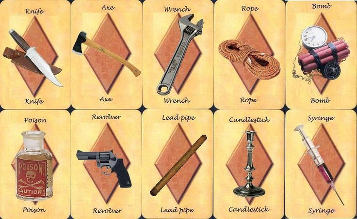 Cluedo Card Weapons By  Skellingtonghost On Deviantart