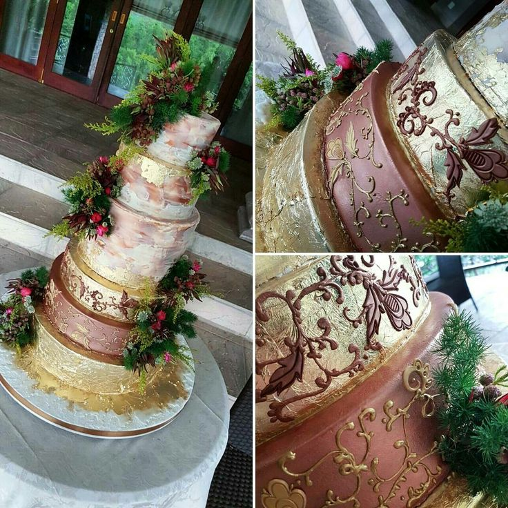 Vintage inspired 6 tier wedding cake. Gold leaf and copper tones. Half naked and half fondant. Hand piped with real flowers throughout