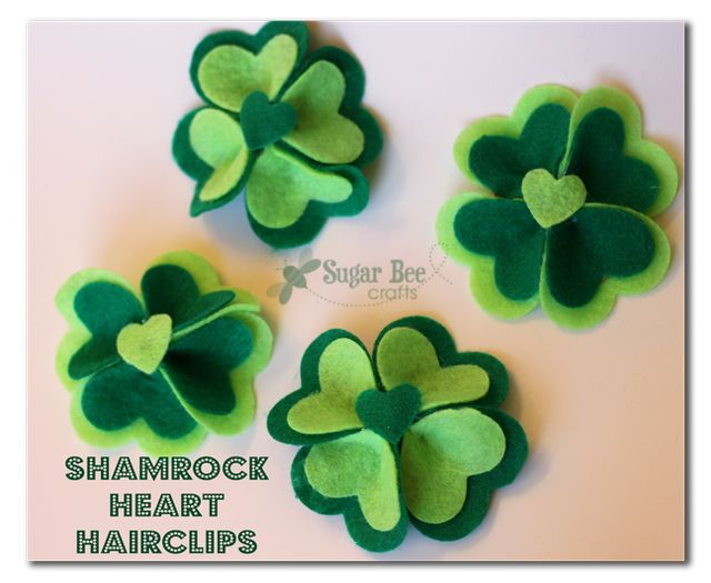 St. Patrick's Day Hair Clips....cuteHeart Hairclips, Crafts Ideas, Hair Clips, Four Leaf Clover, St Patricks Day, Felt Flower, Bees Crafts, Sugar Bees, Shamrock Heart
