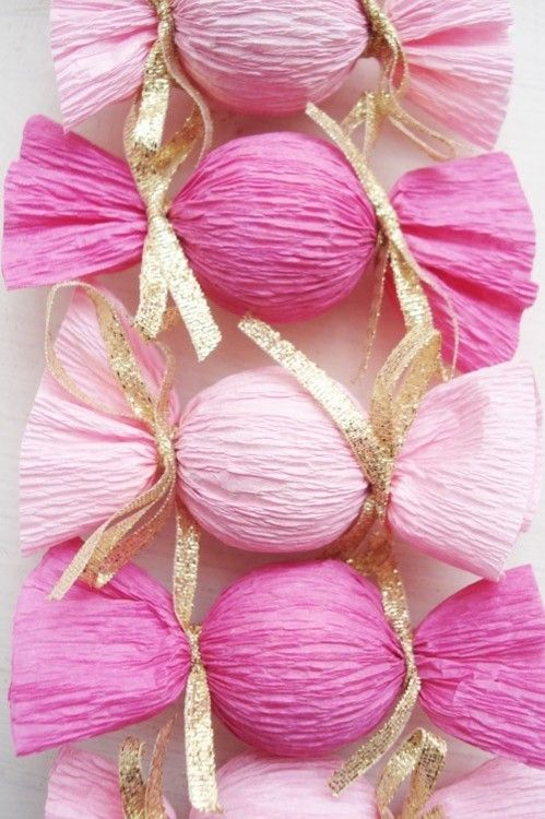 candy decorations - tissue paper and styrofoam balls - bjl