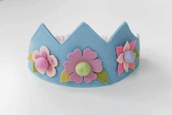Wool felt crown Flower crown Birthday crown Fairy crown