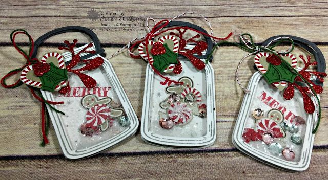 Just Sponge It: Jar of Love Tags, Grandkids & Fur Babies (what a combo) LOL! Candy Cane Lane Designer Series Paper, Red Glimmer Paper, Pretty Pines Thinlits Dies, Holly Jolly Greetings stamp set, Holly Berry Happiness bundle, Mica Flakes, Fancy Frost Sequins, Foam Adhesive Strips, Window Sheets, Big Shot, Shaker Tags, DIY, Stampin' Up!, Christmas