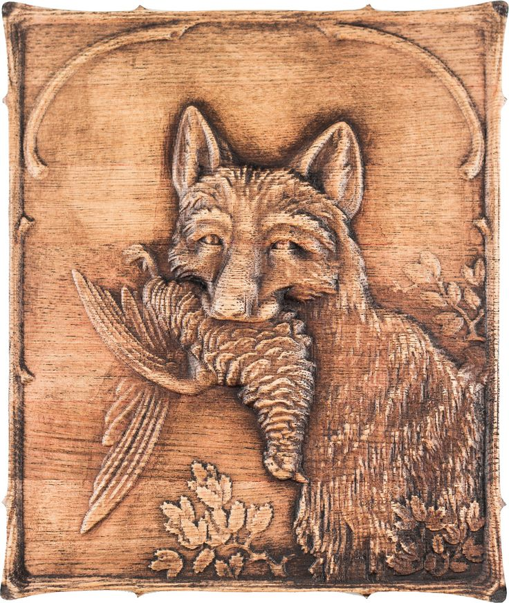 "Carved wooden picture ""Fox caught a bird"".  Ready for shipping. Size 18 * 200 * 235 mm. $35.00"