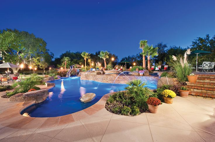 The ultimate in poolside living, a backyard retreat patio design can encompass several—or all—outdoor activities, from lounging in the sun to dining al fresco to entertaining friends. Photo courtesy of Aquatech Society: Silver Springs Pool & Spa http://www.luxurypools.com/builders-designers/aquatech-society.aspx
