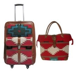@Overstock - Top-grain leather with wool   Carry-on dimensions: 23 inches high x 10 inches long x 14 inches deep  Constructed from hand-made area rug   Tote bag dimensions: 14 inches high x 17 inches long x 5.5 inches deephttp://www.overstock.com/Luggage-Bags/Amerileather-Roamer-2-piece-Carry-on-Luggage-Set/6375909/product.html?CID=214117 $289.99