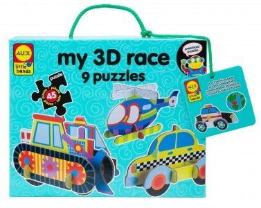 These 3D race puzzles are ready to move! This set includes all the pieces needed to build nine 3D trucks, cars and planes. Puzzles are a gre...