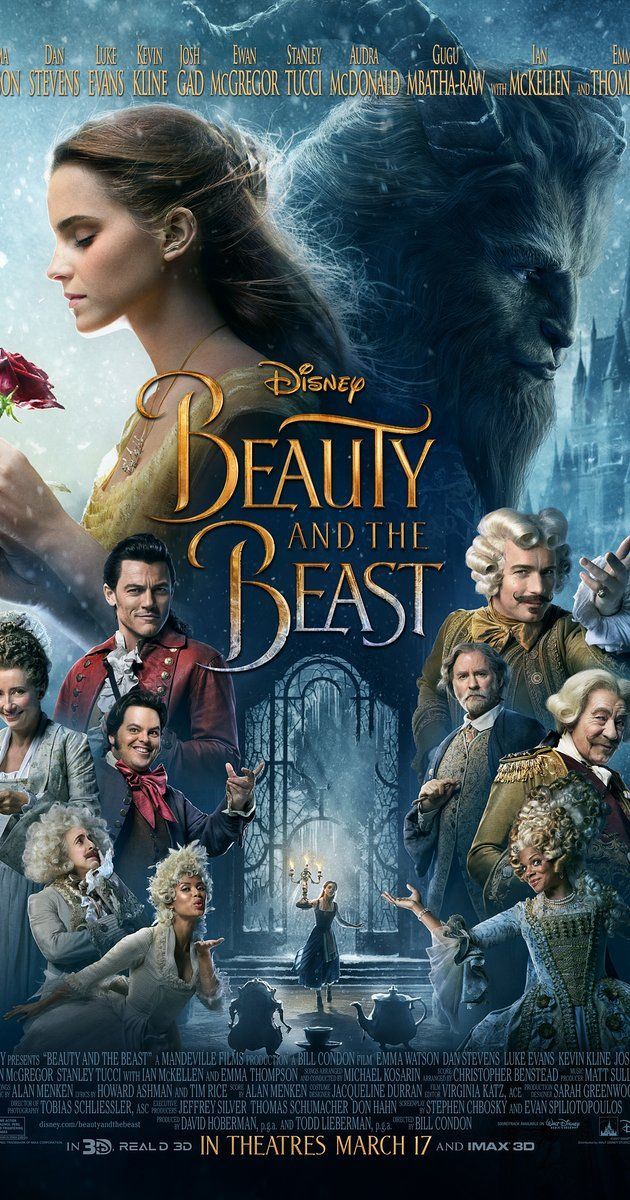 Directed by Bill Condon.  With Emma Watson, Ewan McGregor, Dan Stevens, Luke Evans. An adaptation of the Disney fairy-tale about a monstrous prince and a young woman who fall in love.