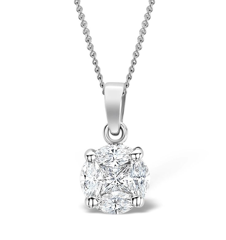 Galileo 1.00ct Look Diamond 0.41ct And 18K White Gold Pendant