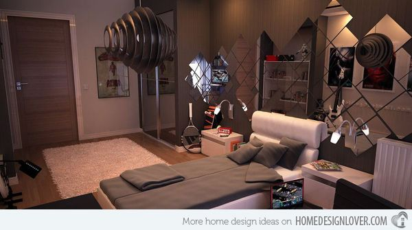 20 Teenage Boys Bedroom Designs | Home Design Lover (I like the mirror idea for teen room)