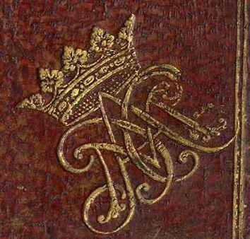 De l'imitation de J-C 1674. Livre du duc de Mazarin, Monogramme, fer de reliure, son chiffre ACCM surmonté d'une couronne ducale en écoinçon aux 2 plats de la reliure. -26) MEILLERAYE-MAZARIN: .. et s'enfuit à Rome chez sa soeur Marie Mancini, connétable Colonna (l'ex 1° amour de Louis XIV)  avec l'aide de son frère Philippe Mancini, duc de Nevers. Aussitôt son mari obtint un arrêt du Parlement contre son épouse, par lequel il était autorisé à la faire arrêter partout où on la trouverait.