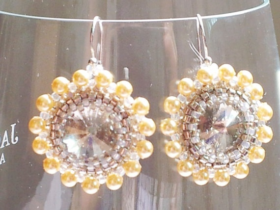 Swarovski yellow pearl crystal drop earrings by SandyYuDesign