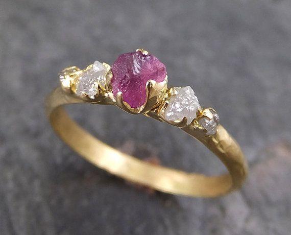 Raw zaffiro diamante 18K oro anello di fidanzamento di byAngeline