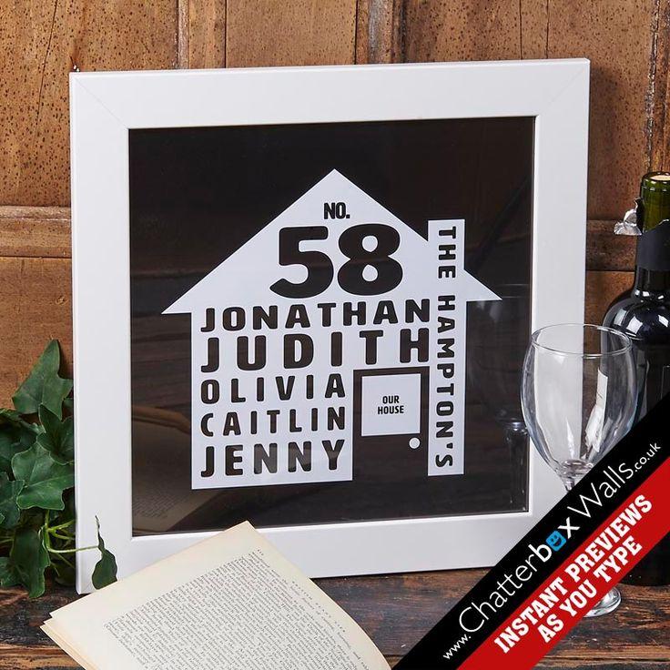 Personalised House Framed Word Art Print