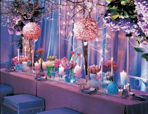 wedding bridal centerpieces table place settings inspiration pink purple blue. Black Bedroom Furniture Sets. Home Design Ideas
