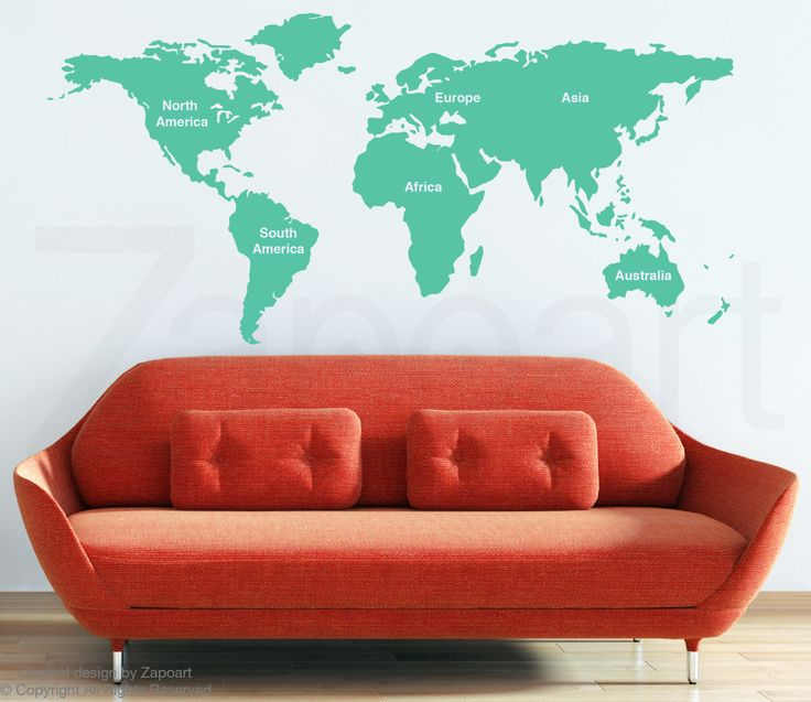 10 best world map images on Pinterest  Wall decals World map