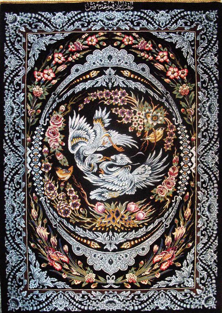 Qum Silk Persian Rug.