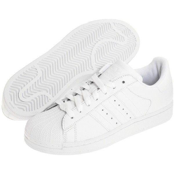 adidas Originals Superstar 2 W Women's Classic Shoes, White featuring polyvore, fashion, shoes, sneakers, clothing, white, white shoes, low tops, adidas originals, white low top shoes and stripe shoes