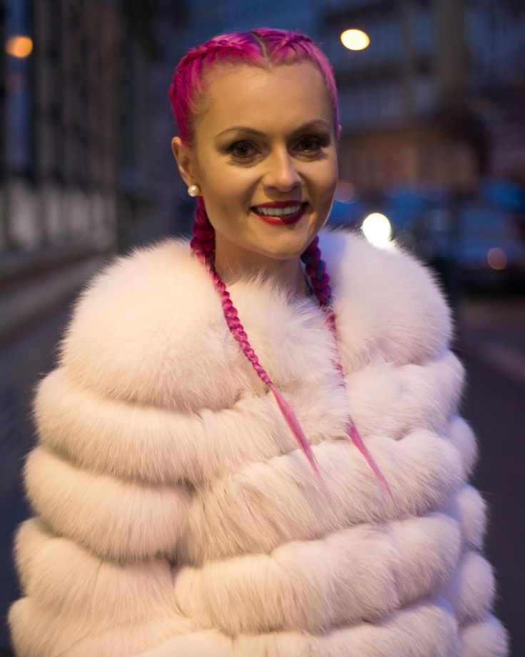 Braids, pink hair, hairstyle, pigtails, copánky, fox fur, fur coat, red lips. Read more about how to take care of your braids >>> http://justbestylish.com/how-to-take-care-of-braids/