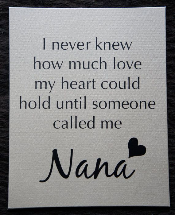 Great Gift to Nana. Word can be changed to any other, as well.    I never knew how much love my heart could hold until by nlcorder