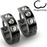 Cosmopolitan - Black Stainless Steel Hinged Hoop Type Comfortable Earrings with Clear Cubic Zirconias