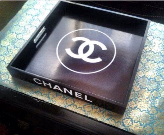 Black Lacquer Chanel inspired Tray 12 square by HouseofEnvyDesigns, $100.00