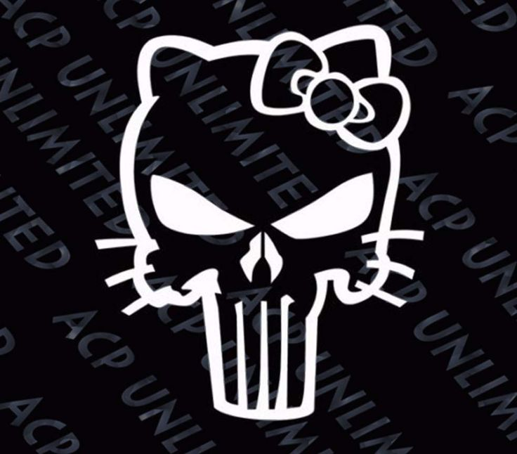 HELLO KITTY PUNISHER SKULL DECAL STICKER COLORS WINDOW AUTO WALL LAPTOP #Unbranded
