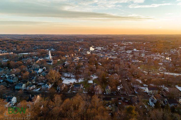 Drone photo of Ipswich Massachusetts at sunset BDW Photography