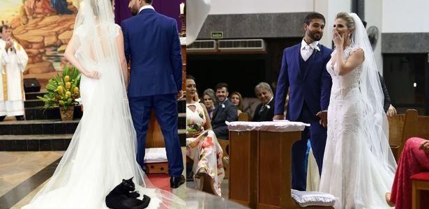 "Gato preto ""invade"" casamento e se deita no vestido da noiva"
