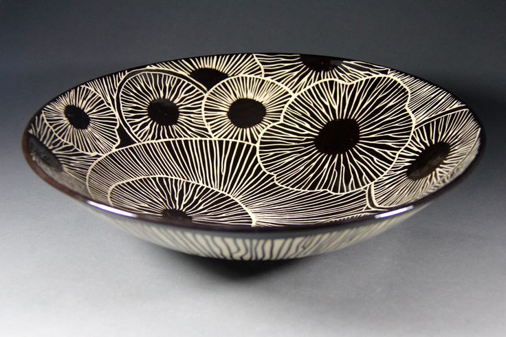 "Marise Fransolino- ""Sgraffito Bowl"" Velvet Underglaze Sgraffito with HF-9 Zinc Free Clear"