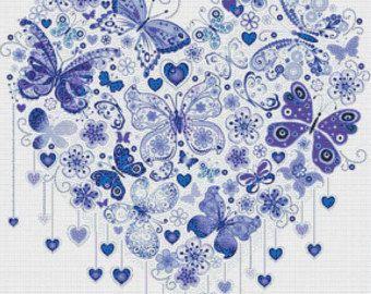 Dark Blue Butterfly Heart PDF Cross Stitch Pattern