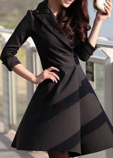Long Sleeve Black Button Design Dress on sale only US$35.84 now, buy cheap Long Sleeve Black Button Design Dress at lulugal.com