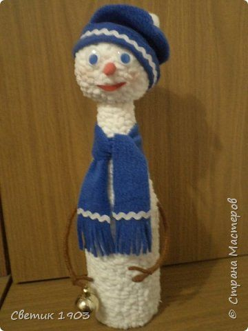 Декор предметов Мастер-класс Новый год Аппликация Моделирование конструирование Бутылка  Снеговик  фото 1
