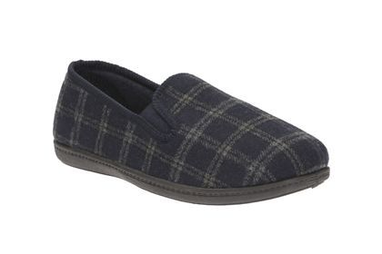 Clarks King Twin, Navy Check Fabric, Mens Slippers