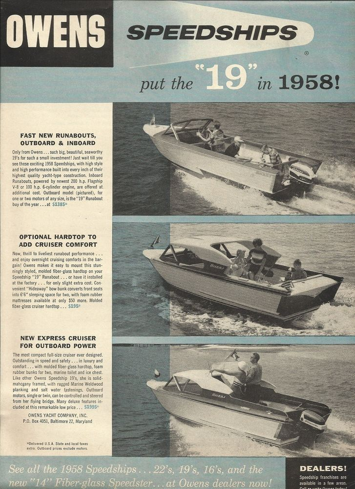 """1957 Owens Yacht Company Ad Featuring 1958 Owens """"19"""" Speedships"""