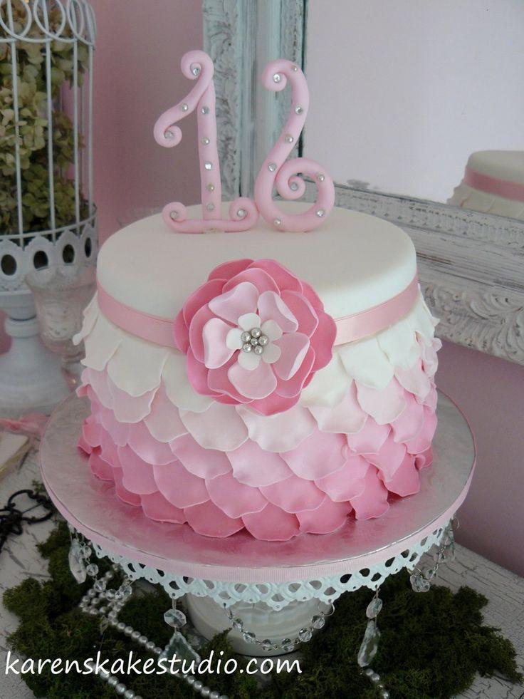 Sweet 16 Ombre sweet 16 birthday cake