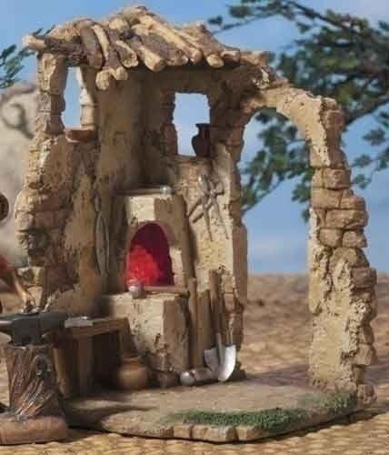 Fontanini 7.5 LED Lighted Religious Nativity Village Blacksmith Shop #54818 $85.00