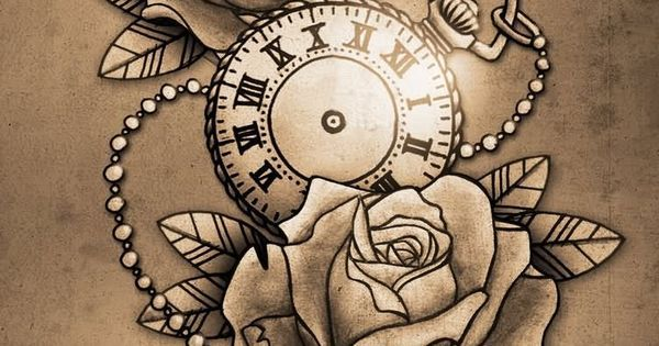 Clock Design Drawing Clock And Roses Tattoo Design