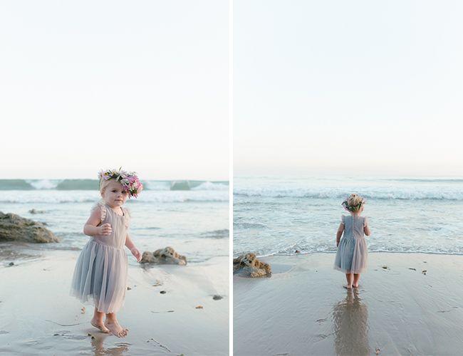 Beach toddler portrait.. love her grey dress and pink flower crown!