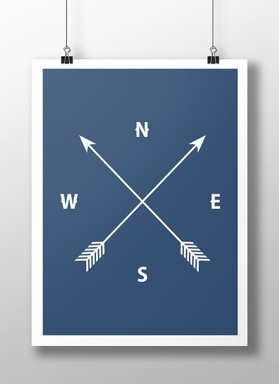 Navy Arrow and Compass Print Navy Blue Wall Art by LineLightStore