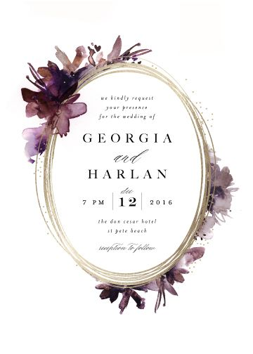 Shimmer by Lori Wemple minted gold wedding invitation invite floral burgundy purple violet flowers foil leaves outdoor outside night abstract modern botanical floral foil