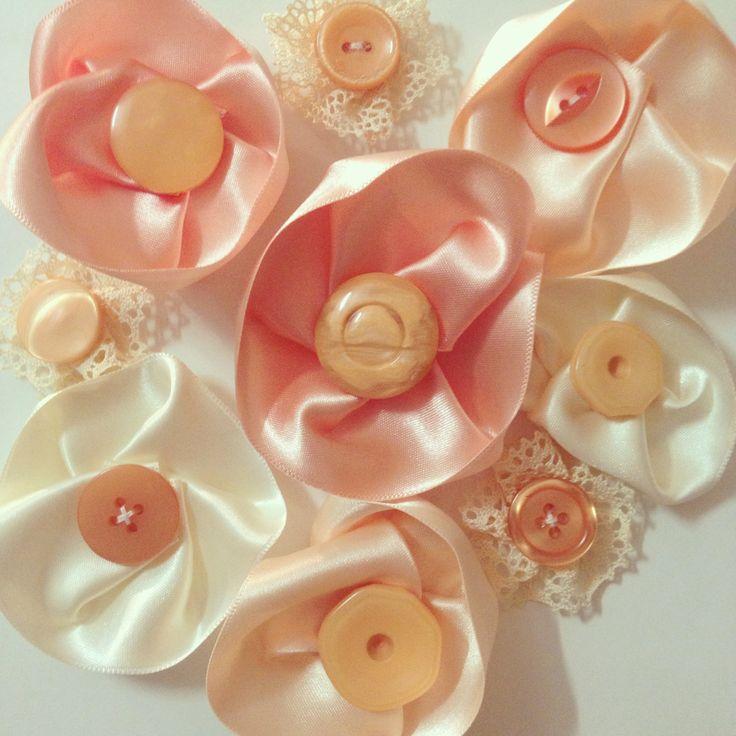 Ribbon flowers for wrist corsages www.threefold.com.au
