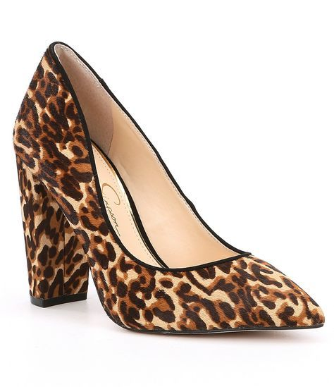Jessica Simpson Calf Tanysha2 Leopard Print Calf Simpson Hair Block Heel Pumps ... 3148bf