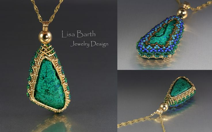This is a hand woven bezel with beaded back.  I love to make things reversible and this one gives you two totally different looks.--Lisa Barth