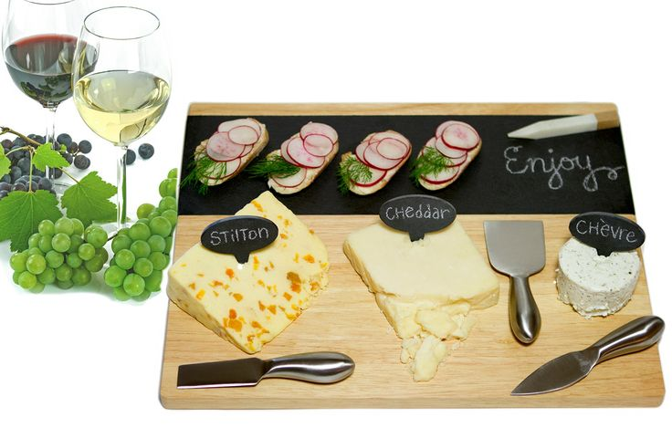 9-piece Modular Slate and Wood Cheese Board Set with Stainless Steel Knives, Slate Cheese Markers, Soapstone Chalk, and Serving Guide--Contemporary, Versatile, Eco-friendly, Antimicrobial
