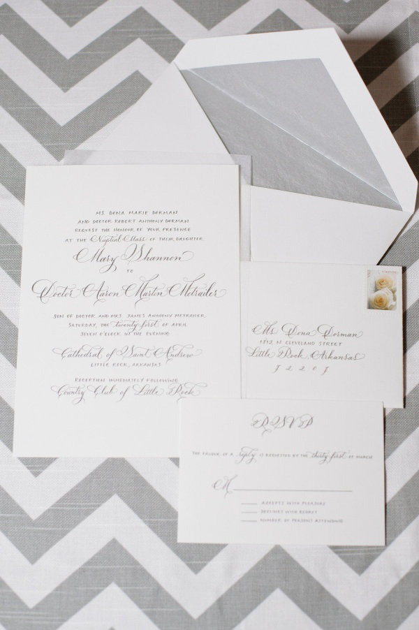classic grey invites by http://www.facebook.com/pages/Mollys-Paperie/271910293458  Photography by elimurray.com