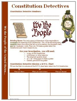 Activity, Lesson Plan: US Constitution Project and WorksheetsELA History Social Studies Standards: 1,2,3,4,5Your students will become detecti...Detective Activities, Constitution Project, Lessons Plans, Activities Projects, Constitution Detective, Common Cores, Lesson Plans, Social Studies, Social Study