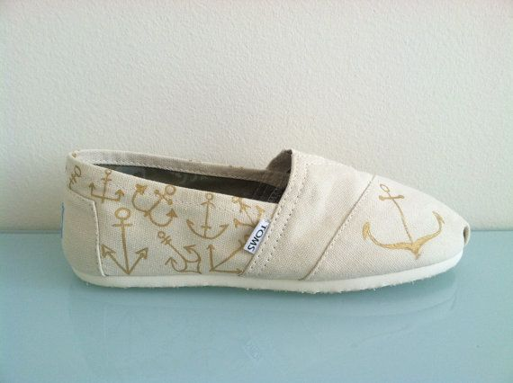 Gold Anchor Hand Painted Toms Shoes on Etsy, $85.00