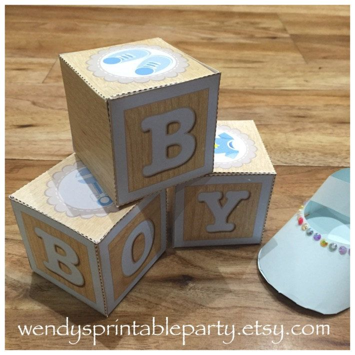 INSTANT DOWNLOAD - Printable - Baby Boy Blocks Party Favors / Table Centrepiece (DIY) - Dimensions in listing by WendysPrintableParty on Etsy
