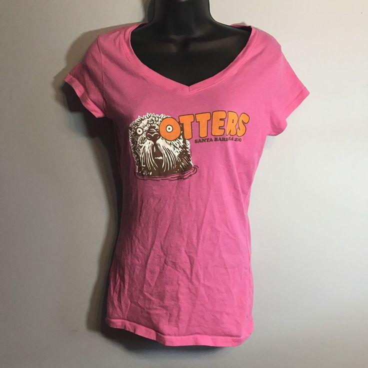 Hooters Original V Neck Womens Shirt Sz Small - Pink - Santa Barbara Zoo - EUC #Hooters #GraphicTee